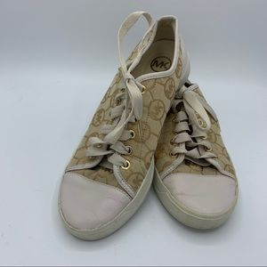 Michael Kors signature sneakers sz 8 gold lace up